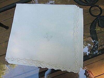"Vintage White  Linen Table Topper /Cloth~Scalloped Hem~Mono  ""K"" ~ 34"" X 36"""