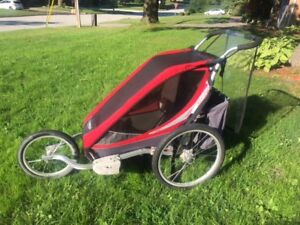 Chariot Cougar jogger stroller with the bike attachment.