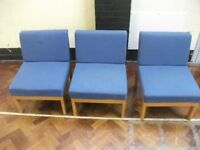 3 Reception Chairs . Blue colour . £5 for the set