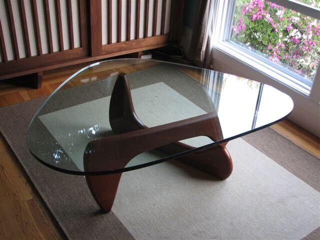Isamu Noguchi Style Dark Walnut Designer Coffee Table with Glass Top   Brand New