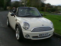 09 REG MINI COOPER 1.6 CONVERTIBLE IN GLEAMING WHITE HPI CLEAR 6 MONTHS WARRANTY