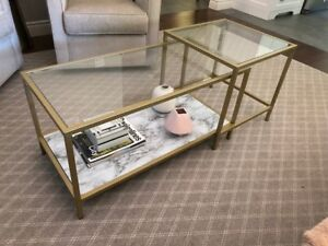 COFFEE TABLE - Rectangle, Gold with Glass