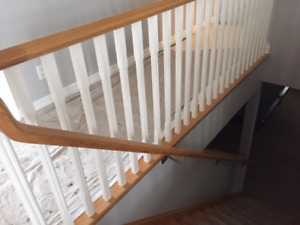 3 Oak Railings -Handrail with balustrade  and 2 Newel Posts.