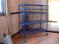 heavy duty adjustable shelving rack on castors ideal workshop garage