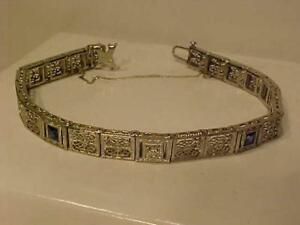 """#3260-*A TOUCH OF THE PAST*14K WHITE GOLD ORNATE BRACELET-7 1/8"""" APPRAISED $2150.00 SELL $695.00 FREE S/H i CANADA ONLY"""