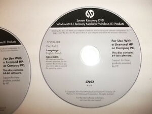 HP system recovery dvd's (4)