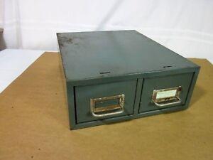 Beau Casier (Card Box) Double Industriel en Métal Antique