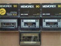 JL £10 & FREE P&P. 7x MEMOREX MRX3 6xC90 1xC120 CASSETTE TAPES. 1976-1981. JOB LOT OR SOLO SALES.