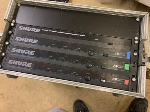 4 SHURE EC4 diversity wireless receivers with power and rack flight case
