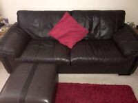 DFS Leather Sofa, armchair and footstool (with storage)