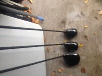 Ben Sayers M2 driver, 3 wood and 5 wood and golf bag, putter and golf trolley