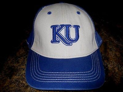 KANSAS UNIVERSITY HAT BY TOP OF THE WORLD - ONE FIT-BLUE AND WHITE Blue One Fit Hat