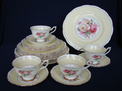 20pc Vintage Royal Albert ROA318 Roses w/Yellow Band 5pc Place Settings for FOUR