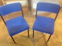 2 blue upholstered office chairs ideal for waiting room or home office