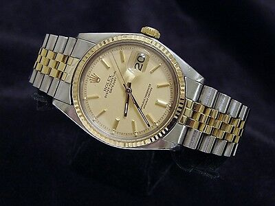 Rolex Datejust Men 2Tone Gold Stainless Steel Jubilee w/ Champagne Dial 1601