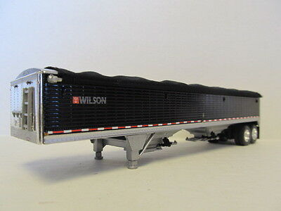 DCP 1/64 SCALE WILSON GRAIN TRAILER (HOPPER BOTTOM)  BLACK, SILVER HOPPERS