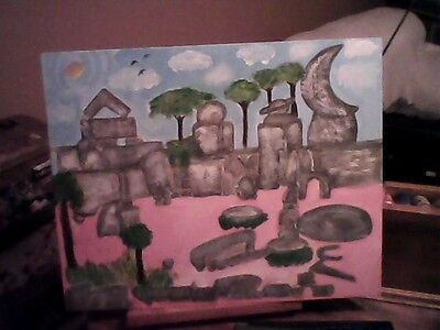 The Florida Coral Castle Original Surreal Art Painting By Linda Stamberger