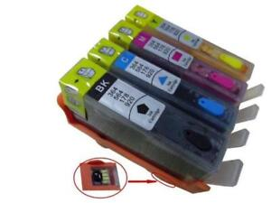 Refillable Cartridges  and Continuous Ink System (CISS) for HP 564/564XL HP Photosmart 6520 6515, 4 x Cartridges