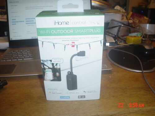 iHome Wi-Fi Outdoor Weather Resistant Smart Plug; Black; iSP100B - new sealed