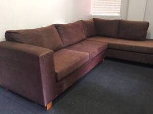 Brown Lounge L shape - Can Deliver Macquarie Park Ryde Area Preview