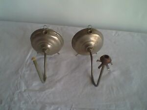 Antique Nickel Plated Pair of Oil Bracket Night Lamps (Parts)