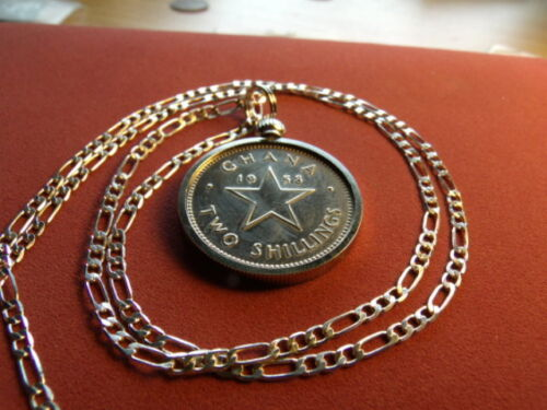 "1958 Ghana Coastal Western Africa Star Coin Pendant &  28"" Silver Chain 26mm"