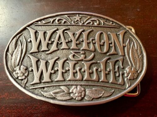 Waylon Jennings and Willie Nelson Belt Buckle Solid Metal Pewter Great Quality