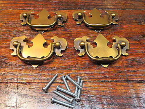 """4 Brass Chippendale Style Drawer Pulls Handles 2 1/2"""" Center To Center NOS"""