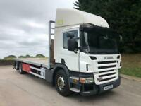 2010 60 Scania P280 6x2 rear lift 25ft6 flatbed. manual