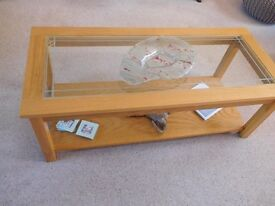 Furniture Village Light Oak Coffee Table with Glass Insert Top