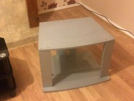 grey plactic tv stand