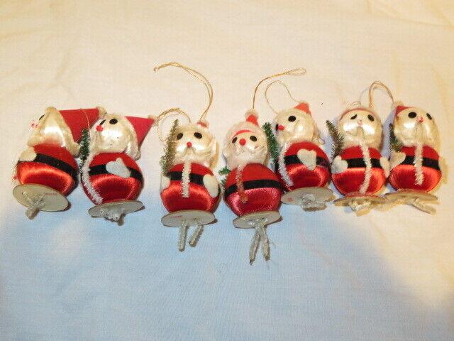 7 Vtg Santa Pipe Cleaner/Chenille Satin Ball Christmas Ornaments