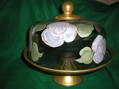 Cake Plate Punch Bowl (HAND PAINTED WHITE CABBAGE ROSES/GOLD CAKE PLATE/PUNCH BOWL(MADE IN THE USA) )