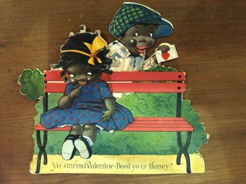 Antique Black Americana Mechanical Valentines card