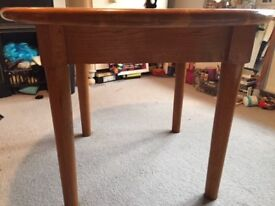Bespoke made round solid oak table and four ornate pine chairs