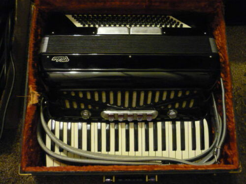 Vintage Italian Black Video Accordion With Case #9746 made in Italy