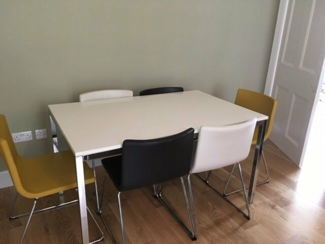 Modern dining table and 6 chairs ikea torsby table and for Furniture queensferry