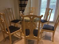 Cream Round Dining Table ,6Chippendale Chairs