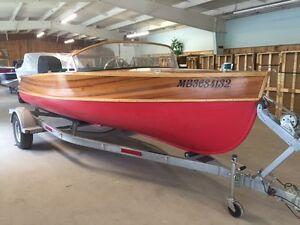 17' Giesler Wood Boat with Honda 60 HP and Trailer