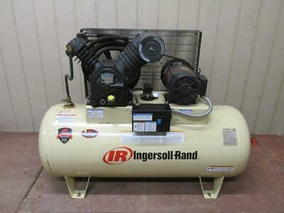 Ingersoll Rand 2545e10v Type 30 Horizontal Air Compressor 2 Stage 10 Hp 120 Gal
