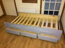 Solid wood single bed frame with 3 drawers