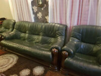 Green Leather 3-seater sofa and chairs