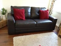 BEAUTIFUL BROWN LEATHER SOFA BED