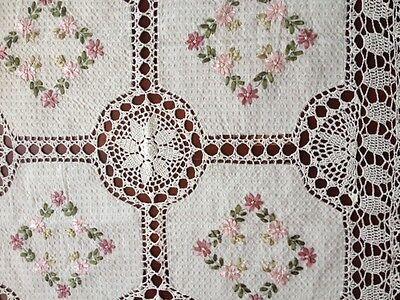 "Handmade Crochet Lace Tablecloth  COLOR BEIGE 100 % COTTON 36"" Square"