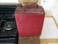 Red antique petrol can