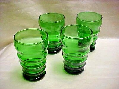 Vintage 1950's Anchor Hocking Glass Forest Green Whirly Twirly Juice Tumbler lot