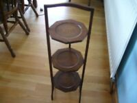 3 TIER CAKE STAND, FOLDING, WOODEN, GREAT CONDITION