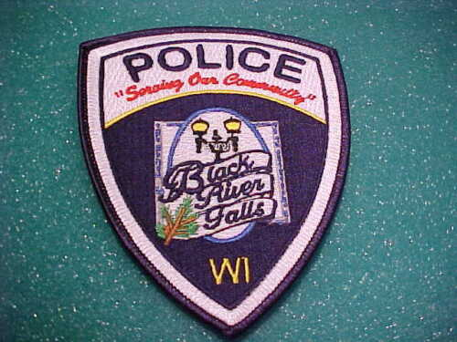 BLACK RIVER FALLS WISCONSIN POLICE PATCH SHOULDER SIZE UNUSED TYPE 2