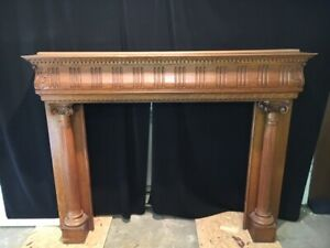 ANTIQUE HAND CARVED OAK FIREPLACE MANTLE CIRCA 1900