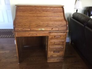 TRADITIONAL  ROLL TOP DESK     MADE OF SOLID OAK